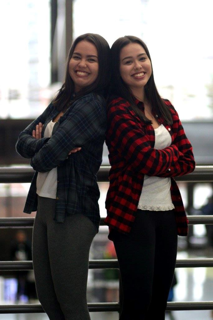 Humans of DC, Humans of Douglas College, students who are twin sisters standing back-to-back and smiling at camera