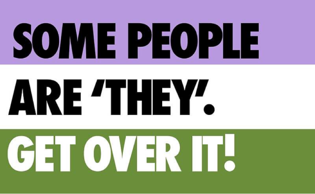"image that says ""some people are they, get over it!"""