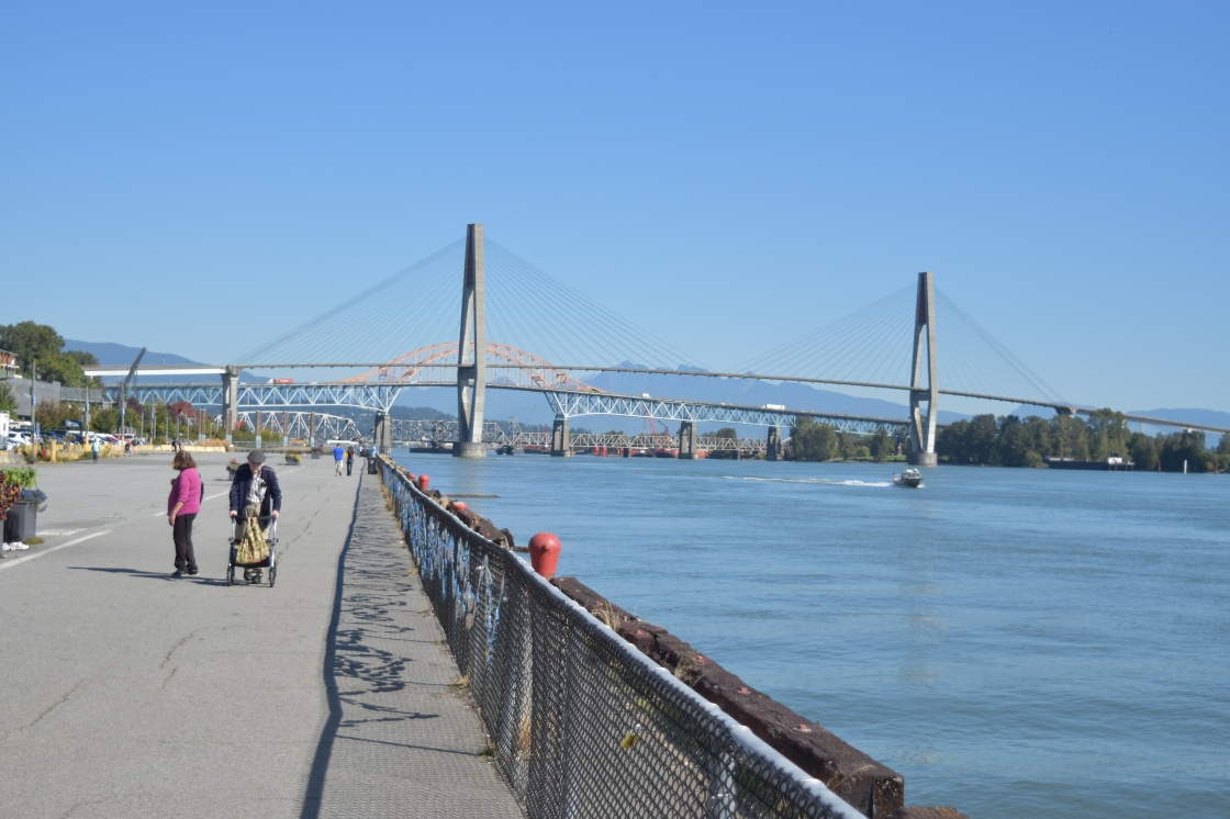 New Westminster pier looking at Patullo Bridge