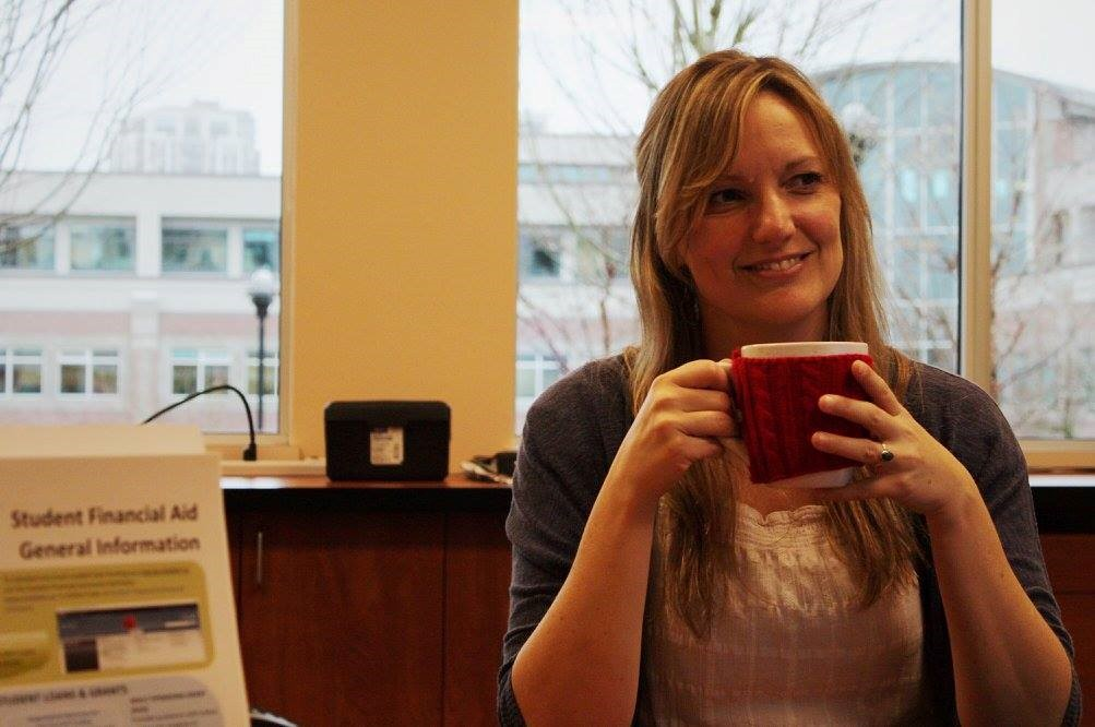 Humans of DC, Humans of Douglas College, portait of instructor at desk holding mug