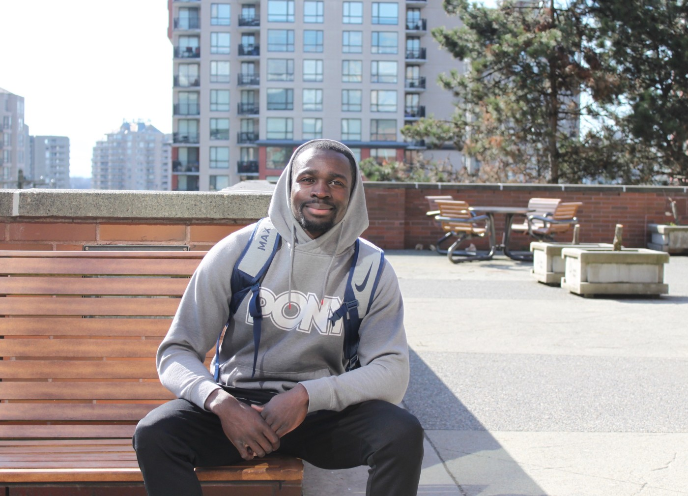 Humans of DC, Humans of Douglas College, portrait of student on bench
