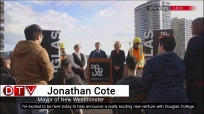 Douglas puts out April Fools Day video announcing new zip line between two New West campuses with help from Mayor Jonathan Cote and President Kathy Denton