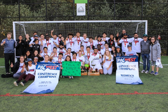 Royals men's and women's soccer teams win first place at PACWEST championships
