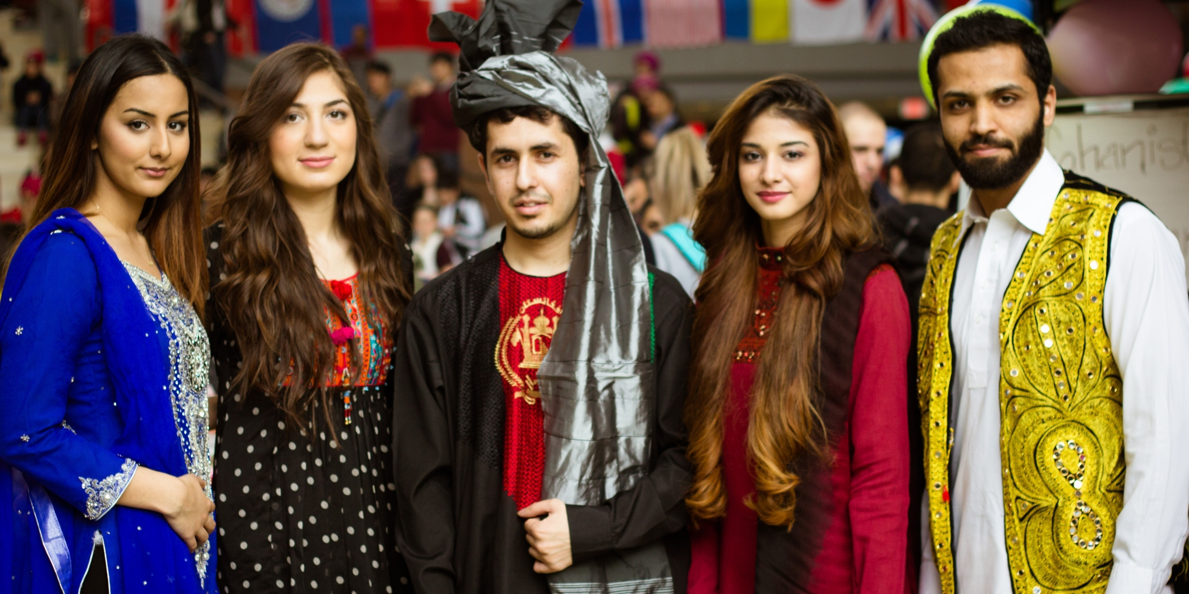 Students dressed in traditional clothing of their home country at International Days