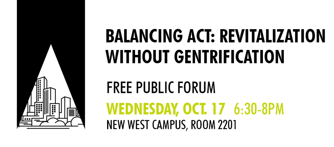 Image shows city graphic on white background in black box with text to the right that says: Balancing Act: Revitalization Without Gentrification