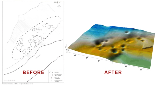 Old 2D map vs. new 3D map of archeological site