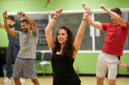Students learn a Caribbean dance routine as part of World of Dance in the Movement Studio.