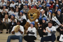 Roary, the Douglas College Royals' mascot, was at the centre of the action during the Make Some Noise for Mental Health rally Jan. 31.